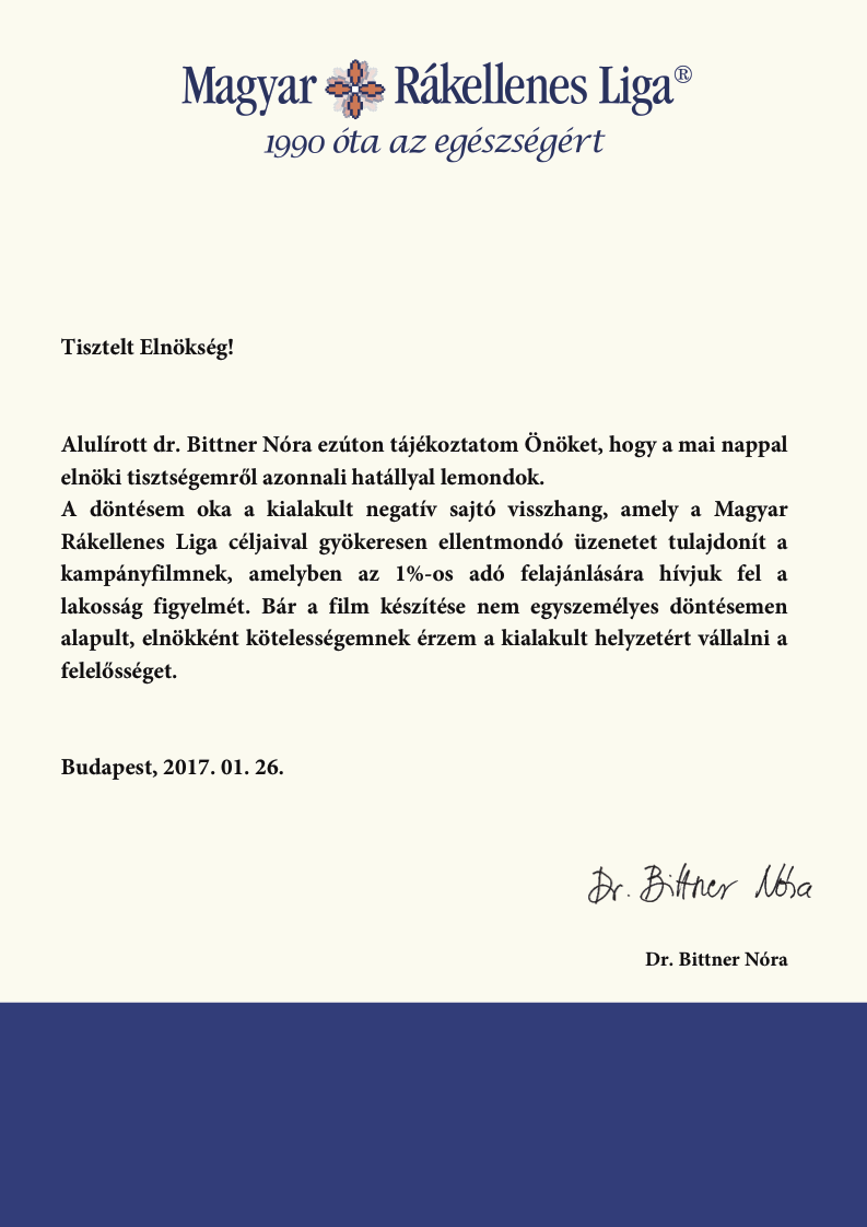 Lemondott a Magyar Rákellenes Liga elnöke